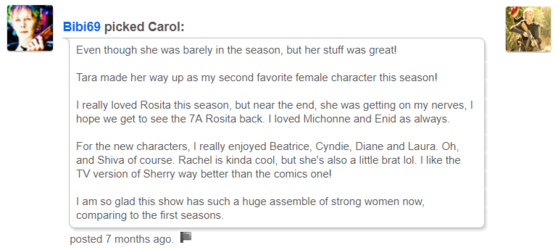 Not just a Carol fan, Bibi supports many of the show's characters.