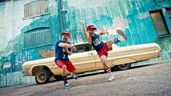 "Jensen Reed (L) and Ben Giroux (R) in parody música video ""Dump Drumpf!"""
