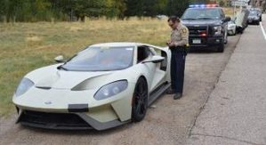 Two of the Ford GT Three were driving 101 mph headed east out of Glenwood Canyon. The third was surrounded por traffic and obeying the speed limit.