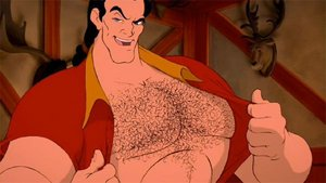 No one shows off his hairy chest like Gaston!
