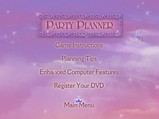 Menu for Party Planner