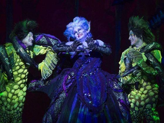 Jennifer Allen as Ursula, Fredrick Hagreen as Jetsam, and Brandon Roach as Flotsam