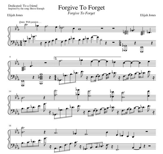 Forgive To Forget Album Sheet musik