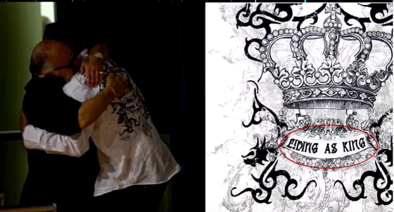 """Jermaine wore this shirt when he announced his brother, Legendary KING of Pop was dead.  Shirt reads """"LIVING AS KING"""""""