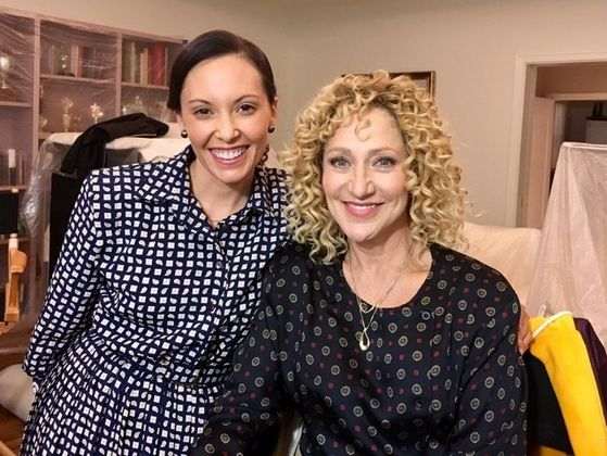 Stephanie Sanchez & Edie Falco - on-set