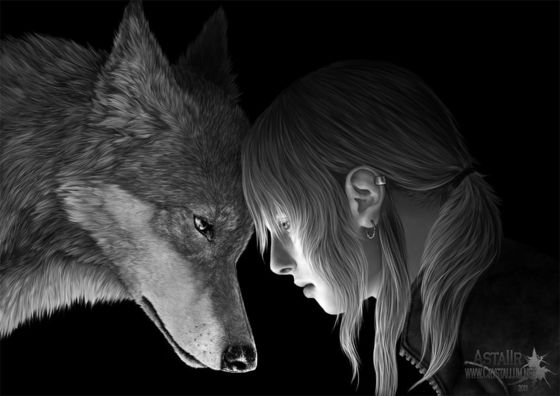 Lilith[The young girl] and Loki[The wolf]