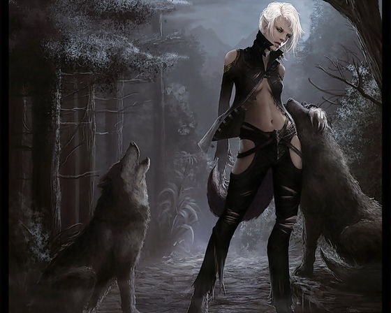Vick[The girl], Shadow'chaser[Wolf being pet], and Blood'moon[Howling wolf]