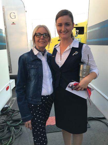 Diane Keaton (L) and Amanda Martin (R) on-set 'Book Club'