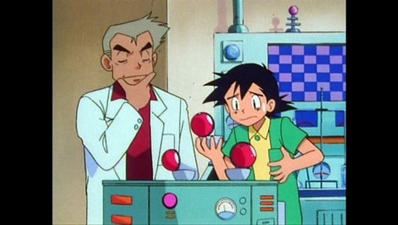 Ash realizes that the Kanto starter pokémon have already been taken
