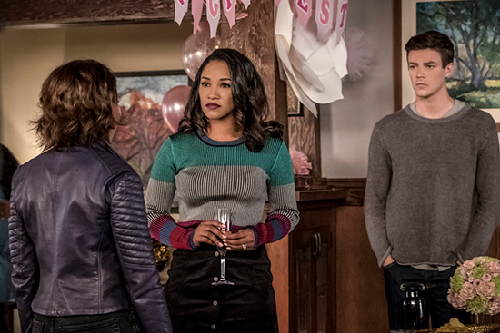 "Iris (and Barry) looking at Nora in a promo image for 5x01, ""Nora."""