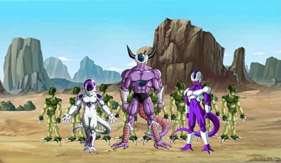 King Cold, Frieza, Cooler, Adult Saibermen, (The Young Z-Fighters face off against King Cold, Frieza, and Cooler.)