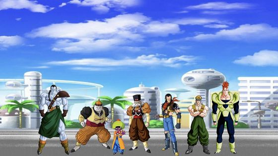 Dr Gero, Android 13, 14, 15, 16, 17, 19 (The Young Z-Fighters face off against the Androids. Androids 14 and 15 ambush Pan and Chiaotzu while out in City Hall.   Pan and Chiaotzu both fight back against Androids 14 and 15, as five more Androids a