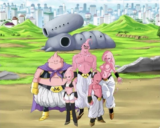 """""""The Buu Family"""" Super Buu, Lady Buu, Majin Buu, Sister Buu and Kid Buu ( The Young Z- Fighters face off with Majin Buu Family in their toughest battle yet It seems like all hope is lost until a Capsule Corp ship appears beneath the sky.Goku, Vegeta"""