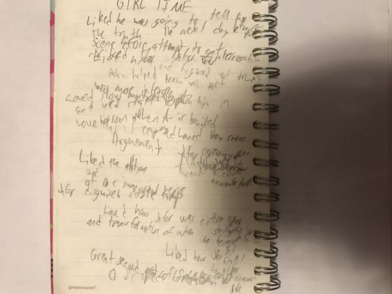 This was actually one of the pages I was using to take notes on after the movie was over. Pretty hard to write in the dark.