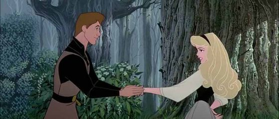 Aurora and Prince Phillip meet in the forest