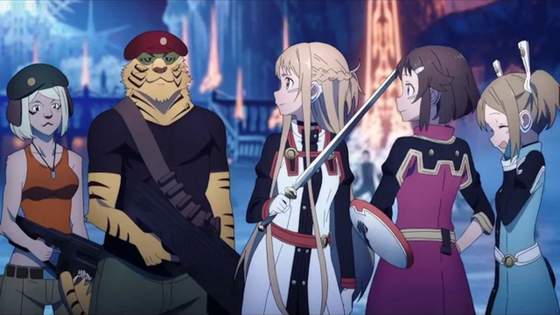 Sword Art Online Ordinal Scale Asuna Yuuki, Silica and Lisbeth.