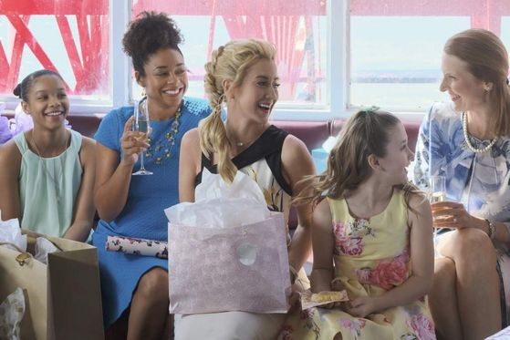 "Kellie Pickler (center) with Nicole Stanton (right) in ""Wedding at Graceland"" (credit: Hallmark)"