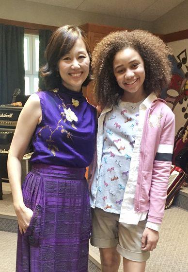 """Elaine Kao and Izabela Rose on-set - """"Upside-Down Magic"""""""