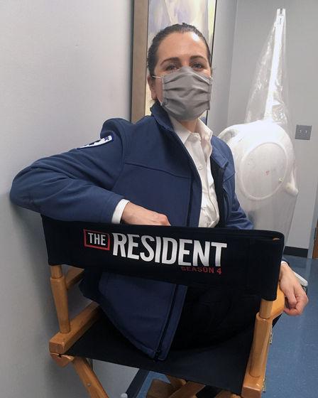 """Tenaya Cleveland on set of """"The Resident"""""""