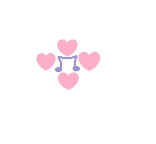 A music note with hearts around it, Because i pag-ibig to sing.