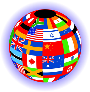 A globe with the world flags. Its because I Liebe traveling, and learning languages. While I have oth