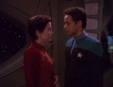"episode ""Apocalypse rising"" Bashir and Kira talking about her pregnancy Bashir: You're doing g"
