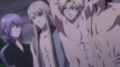 Tsukito, Balder, Apollon, and Dionysus from Kamigami no Asobi.