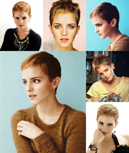 Emma Watson with a pixie cut. I personally think she looks better like this. It brings out her striki