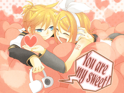 of course with rin-chan :3 i dont think they are twins.I love rin and len as a couple ^o^