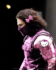 LOLZ! The Winter Soldier wearing stuffs with Hello Kitty on it XD I say new, 你 think?