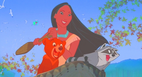 Pocahontas, Koda, Flit, and Meeko accept Kenai's challenge to a race