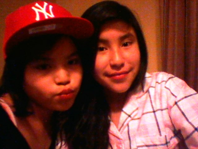 hallo this a pic of me and my sis im the one in the red hat