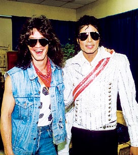 Michael and Eddie backstage during the 1984 Victory tour