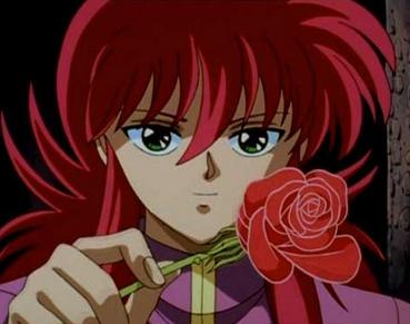 Kurama from Yu Yu Hakusho has long hair!