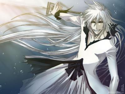 Hollow Ichigo in his Bankai stage and his long white hair