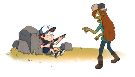 Mike: Yeah... ( gets up and walks back, and they see these guys on the way ) Dipper: GAH!!!! ( the