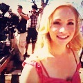On set of The Vampire Diaries