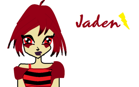 Name: Jaden Status: Witch Planet: Shockwave Power: Electricity Hair: Crimson red with black on ed
