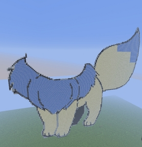 *In progress picture* This is a 3/4 done shiny Eevee I am working on. It's kinda huge so I had to