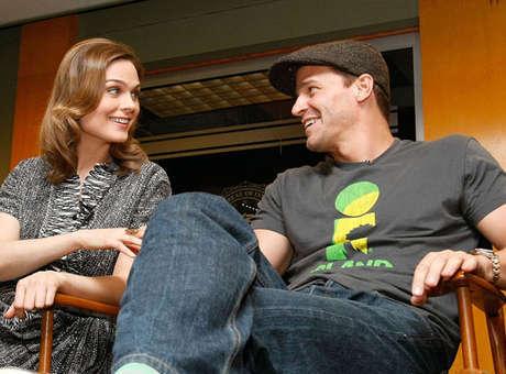 David Boreanaz doing an interview along with costar Emily Deschanel