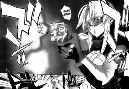 Mikoto from Triage X. I'm always good for a manga with babes with guns. Ha ha, nurse assassins, rem