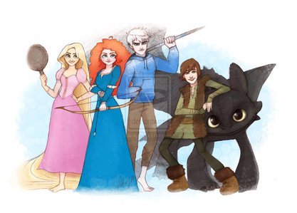 Even though Rapunzel and Merida are in this too I like this picture. created sa pamamagitan ng SeharJH deviantart.co