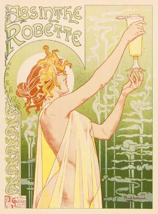 """One of the most iconic art nouveau Bilder of all, this 1896 image for Absinthe Robette Von the Belg"