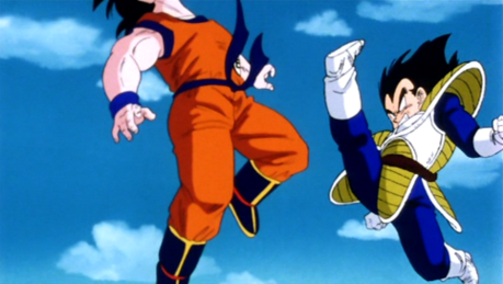 favoriete Battle: GOKU VS VEGETA (first battle) The greatest Vegeta performance!