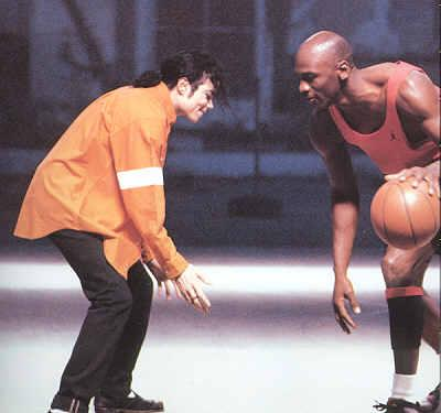 "Michael playing one-on-one with with Michael Jordan in ""Jam"""