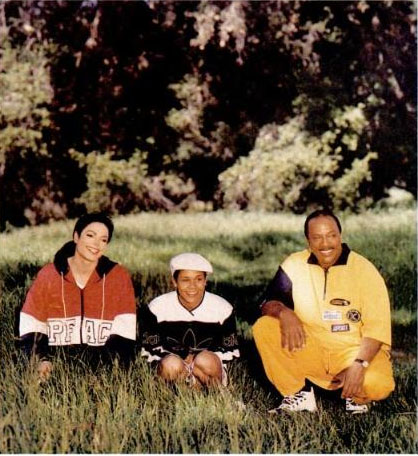 "Michael with Quincy Jones and daughter, Kidada during ""VIBE"" 1995 photoshoot"