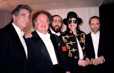 The four tenors! Michael with Luciano Pavarotti, Placido Domingo, José Carreras and conductor Ja