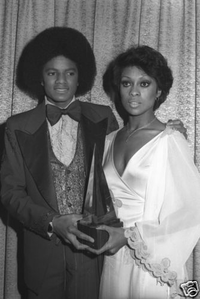 Michael and Lola Falana backstage at the 1977 American Music Awards