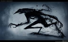 (Her eyes gre a light ting of blue as she ran She was stoped によって a shadow monster. Her feet slid as sh