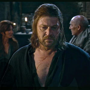 Artist choice - Ned Stark's choice between family and realm displayed in Catelyn (family) and Maester